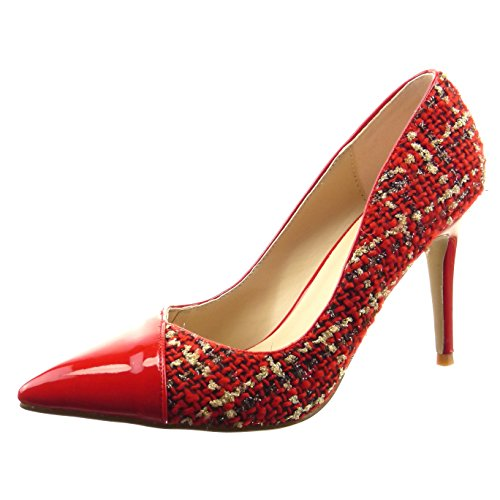 Sopily - Scarpe da Moda scarpe decollete stiletto bi-materiale alla caviglia donna lucide verniciato Tacco Stiletto tacco alto 9 CM - Rosso FRF-8-07-10 T 36