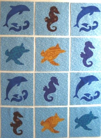 12 Applique Scrap Dolphins Seahorses and Sea Turtles Quilt Blocks 6.5 Inch Squares