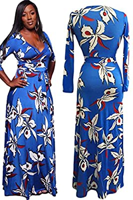 Tea Menory brief Blue Flowery Print Wrap V Neck Maxi Dress