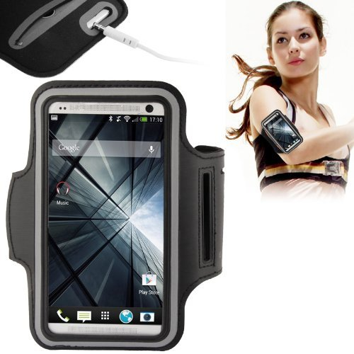 Angelia 2014 Fashions Ports Armband Case For Htc One / M7 Protective Gym Running Jogging (Black)