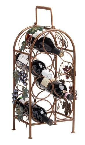 True Fabrications Twine Cascade Vineyard Metal Wine Bottle Rack And Holder With Handles For Easy Carrying - Holds 7 Bottles front-406000