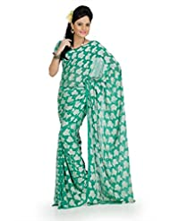 Designersareez Women Georgette Jacquard Printed Jade Green Saree With Unstitched Blouse(728)