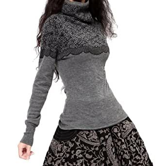 Artka Women's Warm Turtleneck Solid Jacquard Pullover Sweater Grey One Size