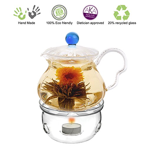 Cheapest Prices! Blooming Tea Glass Teapot Blue Fairy, 20oz/590ml with Glass Tea Warmer Cozy