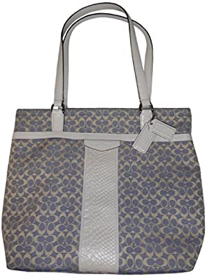 Coach Signature Embossed Stripe Jacquard Tote - in Chambray, style 28927