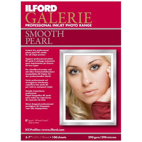 Ilford Galerie Smooth Pearl Resin Coated Inkjet Paper, 290g/m2, 5 (Resin Coated Inkjet Paper compare prices)