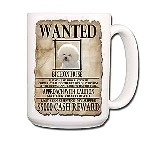 Amazon.com   Bichon Frise Wanted Poster Coffee Tea Mug 15 oz Funny