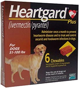 Heartgard Plus Chewables (Brown) - 51-100 lbs - 6 count