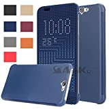 Newtronics Blue Colour Dot View Touch Sensative Flip Thin Hard Shell Premium Bumper Back Case Cover For HTC One A9