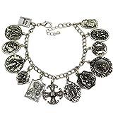 Q&Q Fashion® Vintage Silver Plated Catholic Religious Church Medals Charm Saints PRAY FOR US Cross Chain Bracelet Bangle