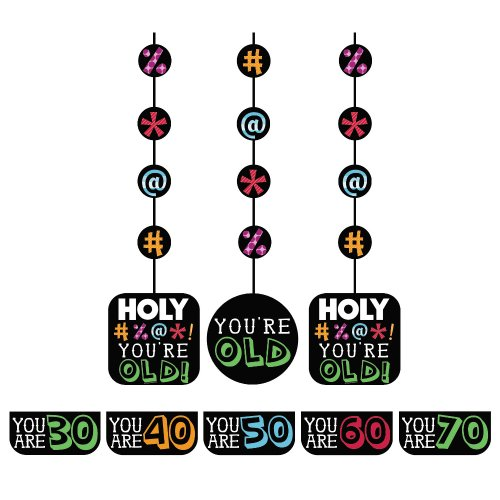 Creative Converting Holy Bleep 3 Count Hanging Cutout Party Decorations with Customizable Stickers