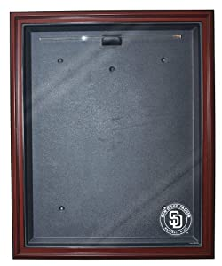 MLB San Diego Padres Cabinet Style Jersey Display, Mahogany by Caseworks