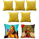 2 Pc Royals Digitally Printed Cushion Cover (16x16) With 5 Pc Solid Color Cushion Cover