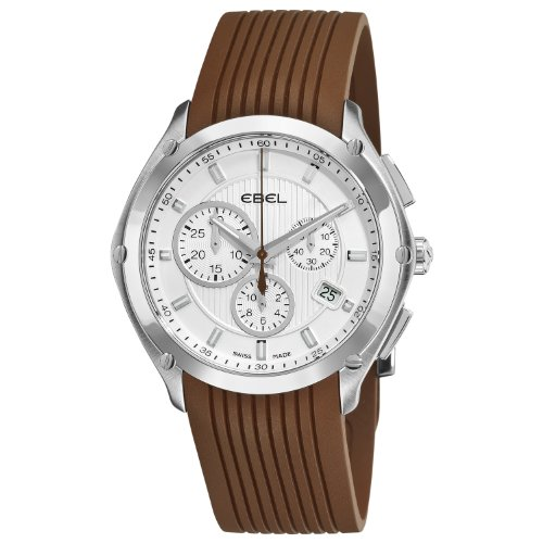 Ebel Men's 9503Q51/1633568 Classic Sport Silver Dial and Brown Rubber Strap Watch