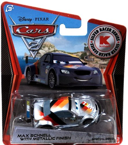 Disney PIXAR Cars 2 Max Schnell With Metallic Finish Silver Racer Series - 1