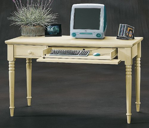Antiqued Cream Computer Table with Pull Out Keyboard Harbor View Antique Cream Collection by Sauder
