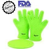 "**Sale Sale Sale** Set of 2 Silicone BBQ Gloves ★ BONUS - FREE 7"" pot holder (a $10 value) included with every pair of gloves! ★ Perfect for use as oven mitts, grill or BBQ gloves ★ Directly Manage Hot Food In The Kitchen ★ Protect Your Hands And Avoid Accidents ★ Lifetime Warranty"