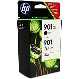 Original XL Tinte HP Nr 901 SD519AE - 2x Premium Drucker-Patrone - Schwarz, Cyan, Magenta, Gelb - 14 ml & 9 ml