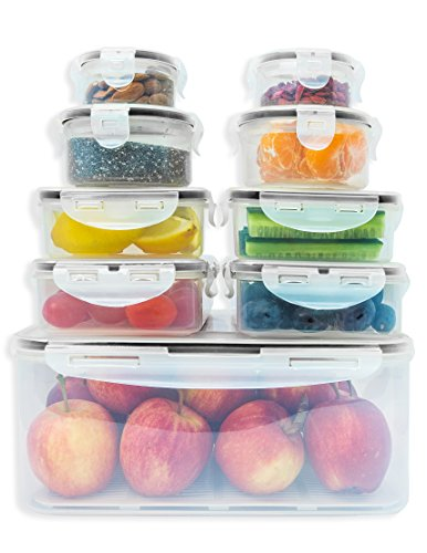 Premium Food storage containers set with smart lock lids (comparable to Tupperware ). 9 x Airtight and BPA Free Kitchen container set (18 pieces) by Fullstar (Storage Container Kitchen compare prices)