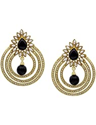 Ethnic Chandbali Style Pearl Polki Black Drop Earrings By Shining Diva