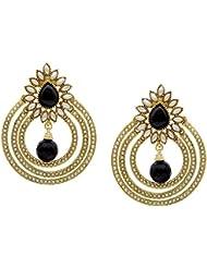 Ethnic Chandbali Style Pearl Polki Black Drop Earrings By Shining Diva