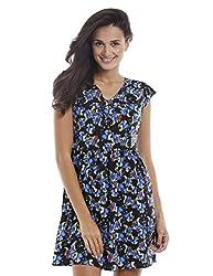 Prym Women's Lynn Fit and Flare Dress (1011507302_Blue Mix_Small)