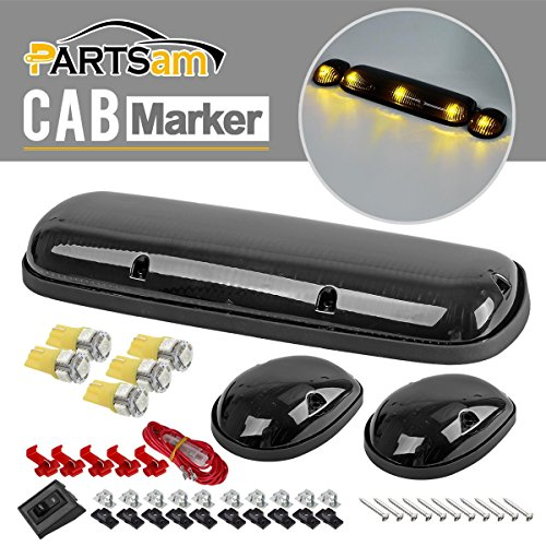 Partsam 3xSmoke Cover Cab Roof Top Marker Lights+5050 2825 Amber LED bulbs for 02-07 Chevy Silverado/GMC Sierra (2006 Silverado Cab Lights compare prices)
