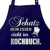 """Schatz, dein Essen steht im Kochbuch - Kochsch�rze Frauen, Latzsch�rze, Grillsch�rze mit verstellbarem Nackenband und Seitentasche - Geschenk Muttertagvon """"Grillk�nig"""""""