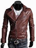 HMZH-510002 (PU ライダース ジャケット ) ブラウン L 高品質PU ジャケット テーラードジャケット 革ジャケット Leather Jacket ライダースジャケット 革ジャン フェイクレザー ジップ ジャケット 革ジャケット ビジネススーツ 皮ジャケット