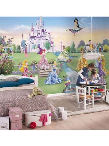 Princess castle photo wallpaper wall mural kids from for Castle mural wallpaper