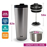 16 Oz Vacuum Insulated French Press Mug For Tea & Coffee | Stainless Steel Double Walled Travel Mug Keeps Your Drink Hot & Cold | by Zell