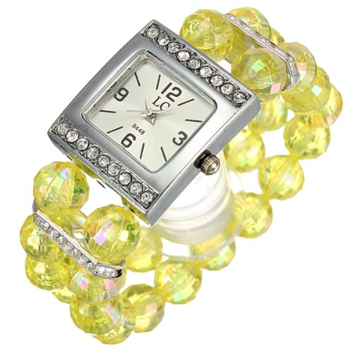 Ladies Women Beads Band Rhinestone Crystal Bracelet Quartz Wrist Watch Yellow
