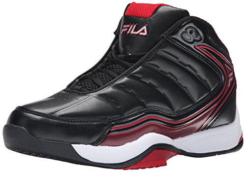 Fila Men's Breakaway 7 Basketball Shoe, Black/White/Fila Red, 11 M US