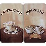 WENKO 2521280100 Herdabdeckplatte Universal Kaffee - 2er Set, für alle Herdarten, Gehärtetes Glas, Mehrfarbig