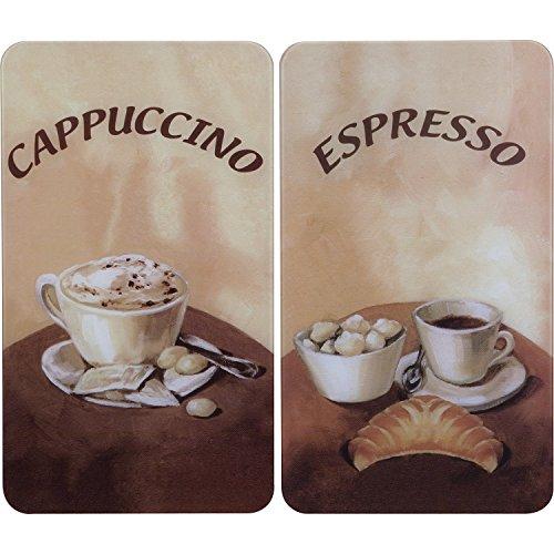 2521280100 Herdabdeckplatte Universal Kaffee - 2er Set, für alle Herdarten, Gehärtetes Glas, Mehrfarbig