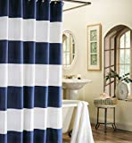 Max Studio 100% Cotton Shower Curtain Wide Stripes Fabric Shower Curtain Turquoise Navy Blue Beige (Navy Blue)