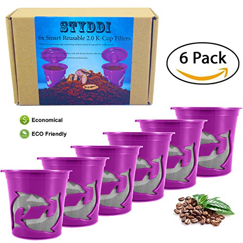 STYDDI 6 Pack Reusable K Cup,Refillable K-cup Mesh Coffee Filter(Single Cup) for Keurig 2.0 - Fits K300,K350,K40,K450,K500,K55,K75,B31,B40,B60 Series and all 1.0 Brewers essential accessories (Keurig Reusable Espresso Filter compare prices)