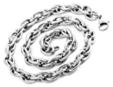 Justeel Men Silver Stainless Steel Necklace Twist Chain 10mm Wide 17 Inch (with Gift Bag) (Width: 0.39