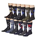 James Fiallo Mens 12-pack Argyle Dress Socks (sock size 10-13)