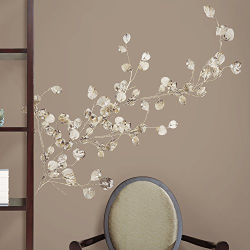 ROOMMATES RMK1677GM Silver Dollar Branch Peel and Stick Giant Wall Decal - 1