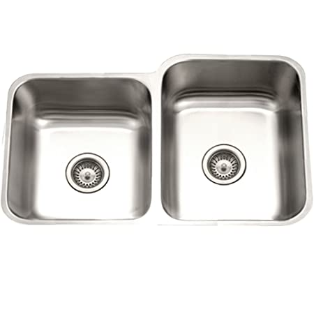 Houzer STE-2300SL-1 Eston Series Undermount 60/40 Double Bowl Kitchen Sink T-304 Stainless Steel