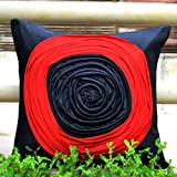 Frills And Colours In Geometric Patterns- Black And Red Cushion Cover