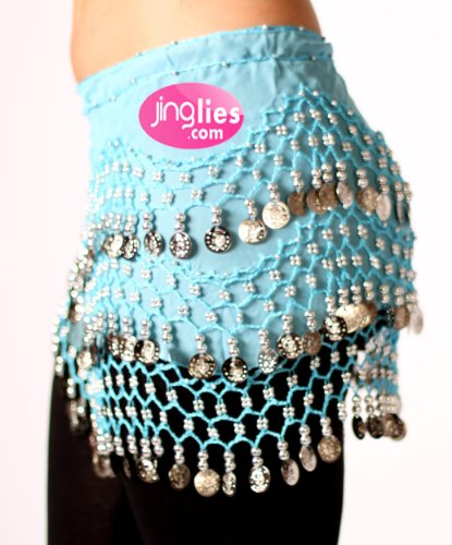 Belly Dancing Hip Scarves - Aqua with Silver Coins