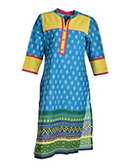 Global Women's Cotton Straight Kurta (GW46BlueL015, Blue, L)