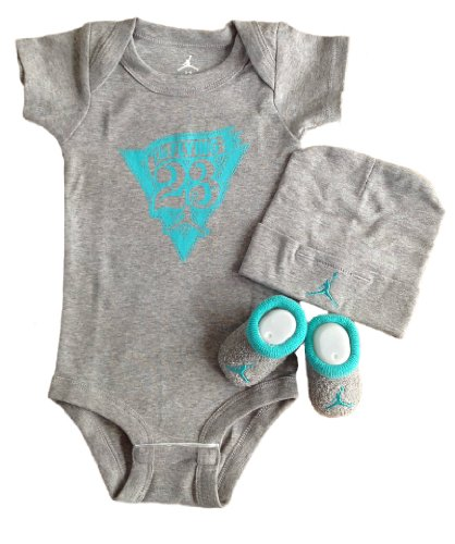 Nike Jordan Baby 0-6 Months Lap/Shoulder Bodysuits,Booties and Cap With Jordan Logo 3 PCS Set; Plus a Free Gift Cellphone Anti-dust Plug