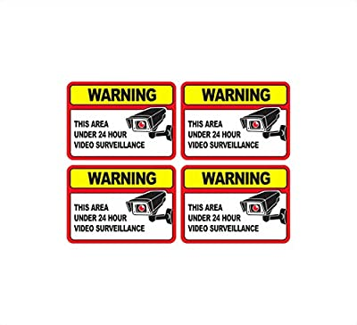 ProGrade Security Camera Sticker Video Surveillance Sticker with Security Sign Warning for Home and Business, UV Weather Resistant, 6 x 4.25-Inch, Pack of 4 from ProGrade Security