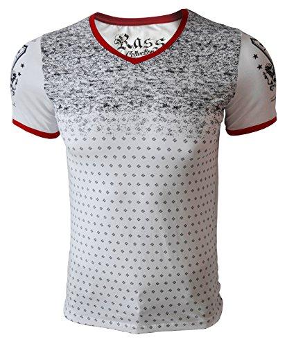 Rass Collection Men V-Neck T-Shirt Style MFL-2730 (L, WHITE) (La Made V Pocket Tee compare prices)