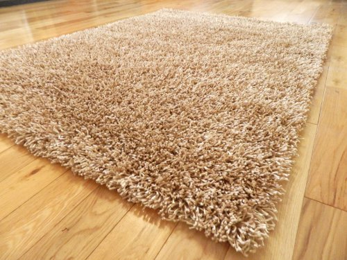 PLAIN BEIGE CHAMPAGNE SPAGHETTI SPARKLE THICK SHAG PILE RUG MATS 120 X 170 CM**NON-SHED** (FREE UK DELIVERY)