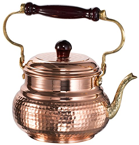 DEMMEX 2017 Hammered Copper Tea Pot Kettle Stovetop Teapot, 1.6-Quart (Copper) (Copper Tea Kettle compare prices)