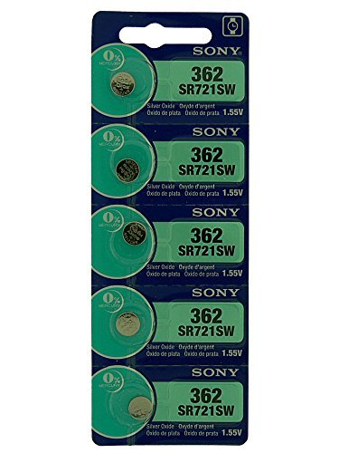 Piles Montres Sony 1.55V, Argent Oxide, Button Cell 1 Rangé de 5 Piles, Modèles Variées, 0% Mercure, Longue Expiration, 377, 364, 371, 379, 394, 392,
